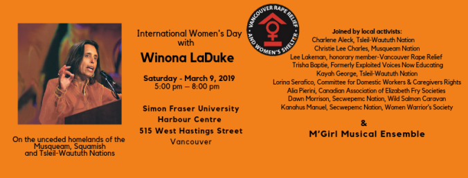 Winona Laduke featured as a speaker for Vancouver Rape Relief's event for International Women's Day