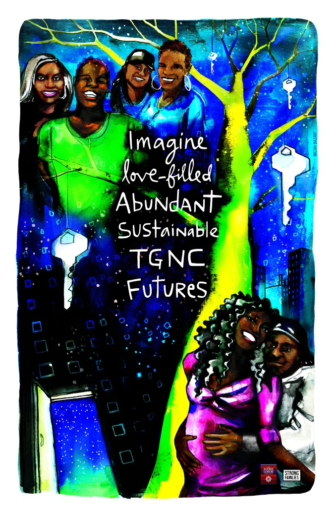 six Black folks gathered close together, smiling. Imagine love-filled abundant sustainable TGNC futures